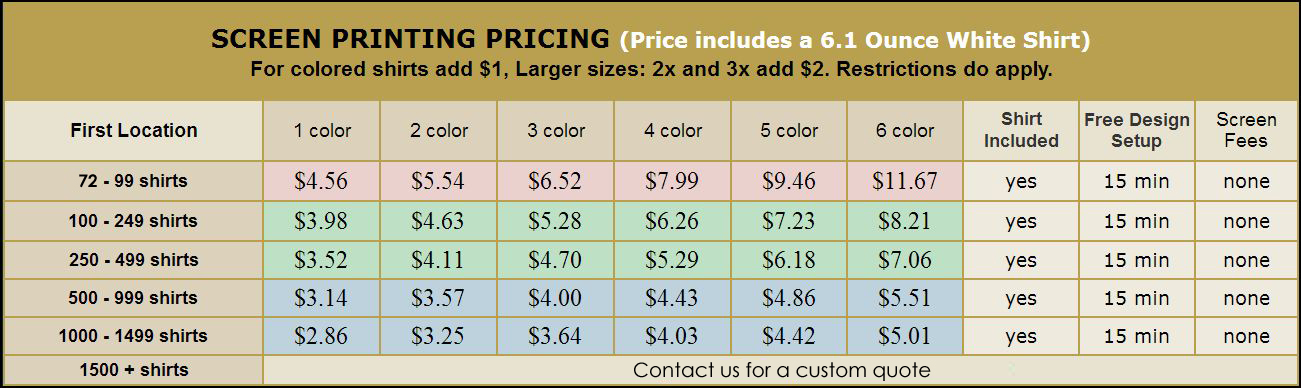 Shirt Printing Prices